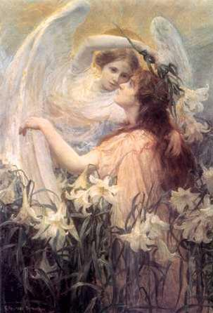 angel guiding woman through flowers