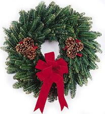 wreath with bow and pine cones